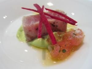 Salmon Millefeuille with Lemon Cream, Tomato Vinaigrette and Crispy Vegetables