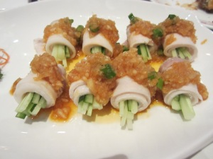 cold pork rolled with garlic and vege, excellent taste