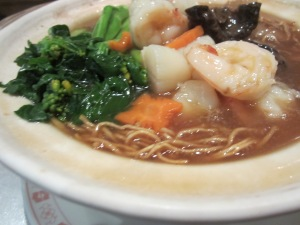 Noodle with sea cucumber and prawns, excellent dish