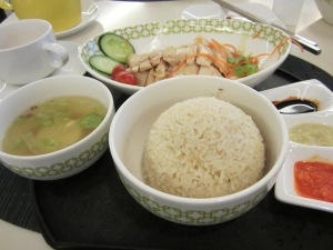 full set of chicken rice;  excellent rice, chicken meat as tender as in the best Malaysia
