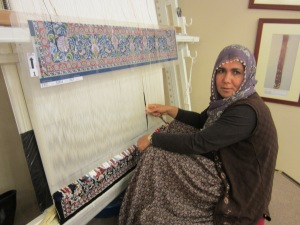 carpet weaving; finest will take 2 years, working 5 hrs per day