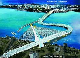 the proposed crooked bridge (crooked on Malaysian side, as Singapore was not keen to rebuild). Brain child of Dr. Mahathir.  He seriously believed with the construction of this bridge, Malaysian economy will out-beat Singapore.