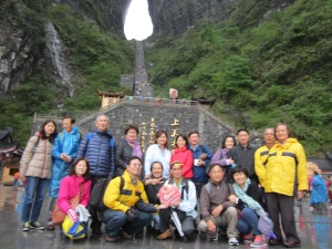 view of our group, 23 tourists, plus a Malaysian guide. Heaven's gate is just a water hole