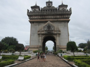 triumphant gate against French coloniser, as symbolised by the red blood in the national flag, against the white full moon on the Mekong river
