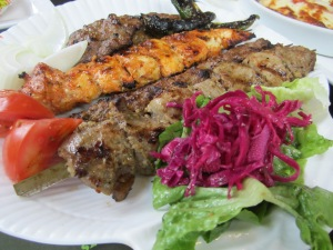 mixed meat plate: beef, lamb and chicken kebab