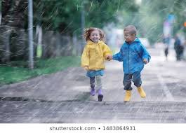 Image result for kids run in the rain